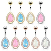 Opalescent Glitter Teardrop Shield Steel Belly Ring
