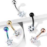 Prong Set CZ Star Internally Threaded Steel Belly Ring