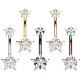 Double Jeweled CZ Star Int. Threaded Steel Belly Ring