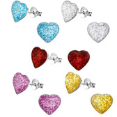 Glitter Heart 925 Sterling Silver Stud Earrings