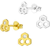 Honeycomb 925 Sterling Silver Stud Earrings