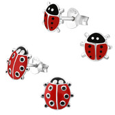 Ladybug 925 Sterling Silver Stud Earrings