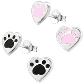Heart Shaped Dog Paw 925 Sterling Silver Stud Earrings