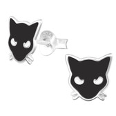 Black Cat 925 Sterling Silver Stud Earrings