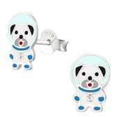 Astronaut Space Dog 925 Sterling Silver Stud Earrings