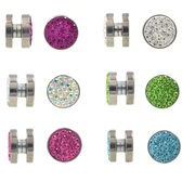 12mm Crystal Jeweled Magnetic Fake Plug Earrings