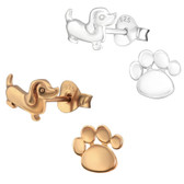 Weiner Dog & Paw 925 Sterling Silver Stud Earrings