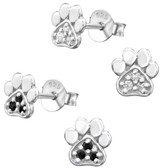 Jeweled Paw Print 925 Sterling Silver Stud Earrings