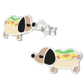 Hot Dog Puppy 925 Sterling Silver Stud Earrings