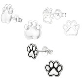 Paw Print 925 Sterling Silver Stud Earrings