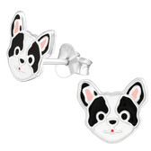 Black & White Dog Face 925 Sterling Silver Stud Earrings