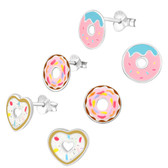 Delicious Donut 925 Sterling Silver Stud Earrings