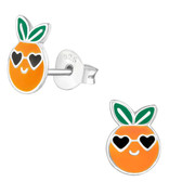 Orange w/Heart Shades 925 Sterling Silver Stud Earrings