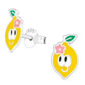 Lemon Face 925 Sterling Silver Stud Earrings