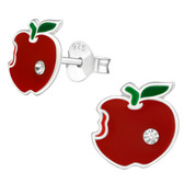 Red Apple  925 Sterling Silver Stud Earrings