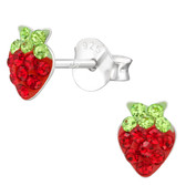 Strawberry Bling 925 Sterling Silver Stud Earrings