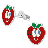 Strawberry Face 925 Sterling Silver Stud Earrings
