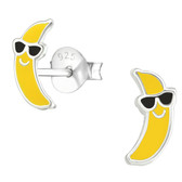 Banana w/Shades 925 Sterling Silver Stud Earrings