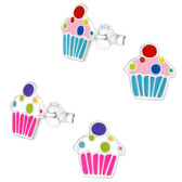 Cupcake 925 Sterling Silver Stud Earrings