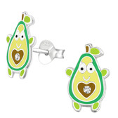 Avocado Man 925 Sterling Silver Stud Earrings
