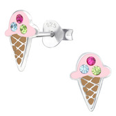 Bling Ice Cream Cone 925 Sterling Silver Stud Earrings