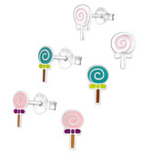 Lollipop Candy 925 Sterling Silver Stud Earrings