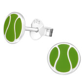 Tennis Ball 925 Sterling Silver Stud Earrings