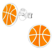 Basketball 925 Sterling Silver Stud Earrings