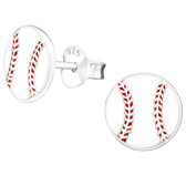 Baseball 925 Sterling Silver Stud Earrings