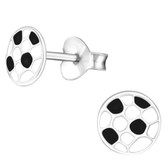 6mm Soccer Ball 925 Sterling Silver Stud Earrings