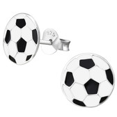9mm Soccer Ball 925 Sterling Silver Stud Earrings