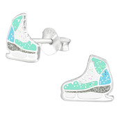 Ice Skates 925 Sterling Silver Stud Earrings