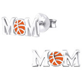 Basketball Mom 925 Sterling Silver Stud Earrings