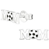 Soccer Mom 925 Sterling Silver Stud Earrings
