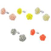 10mm Glitter Rose 925 Sterling Silver Stud Earrings