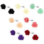 10mm Rose Flower 925 Sterling Silver Stud Earrings
