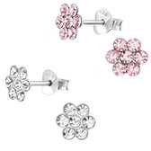 Crystal Jeweled Flower 925 Sterling Silver Stud Earrings