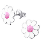 White/Pink Daisy 925 Sterling Silver Stud Earrings