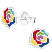 Rainbow Rose 925 Sterling Silver Stud Earrings