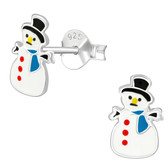 Snowman w/Top Hat 925 Sterling Silver Stud Earrings