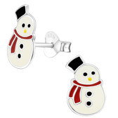 Christmas Snowman 925 Sterling Silver Stud Earrings