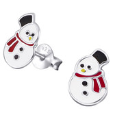 Small Snowman 925 Sterling Silver Stud Earrings