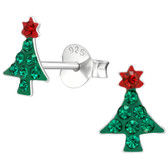 Crystal Christmas Tree 925 Sterling Silver Stud Earrings