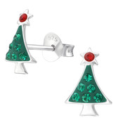 Jeweled Christmas Tree 925 Sterling Silver Stud Earrings