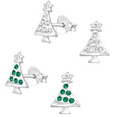 Perfect Christmas Tree 925 Sterling Silver Stud Earrings