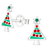 Green/Red Christmas Tree 925 Sterling Silver Earrings