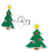 Traditional Christmas Tree 925 Sterling Silver Earrings