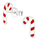 Candy Cane 925 Sterling Silver Stud Earrings