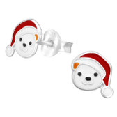 Santa Hat Panda Bear 925 Sterling Silver Stud Earrings