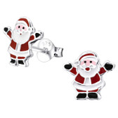 Jolly Santa Claus 925 Sterling Silver Stud Earrings